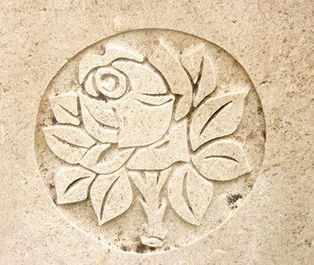 Stone masons hand carved rose